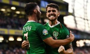 Republic of Ireland's Robbie Brady celebrates scoring his country's second goal against Gibraltar.