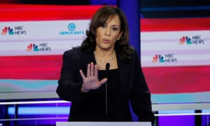Kamala Harris speaks during the second night of the first Democratic candidates debate in Miami.