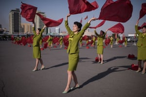 Members of a propaganda troupe perform in Pyongyang. North Koreans are preparing to celebrate the 'Day of the Sun' festival, commemorating the 105th anniversary of the birth of former supreme leader Kim Il-sung, as tension over nuclear issues rise in the region.