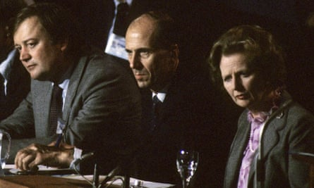 Clarke with Norman Tebbit and Margaret Thatcher at the Tory party conference, 1985.