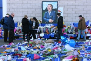 Flowers, tributes and messages of condolence outside the King Power stadium in Leicester