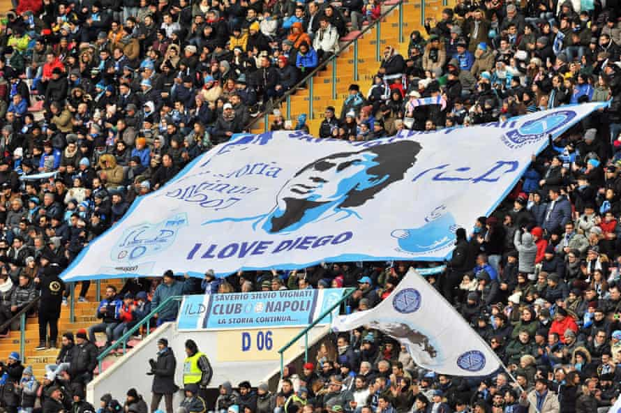 Napoli fans show their enduring love for Diego Maradona at the San Paolo.