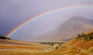 A rainbow over Beinn Dorain in the Scottish Highlands