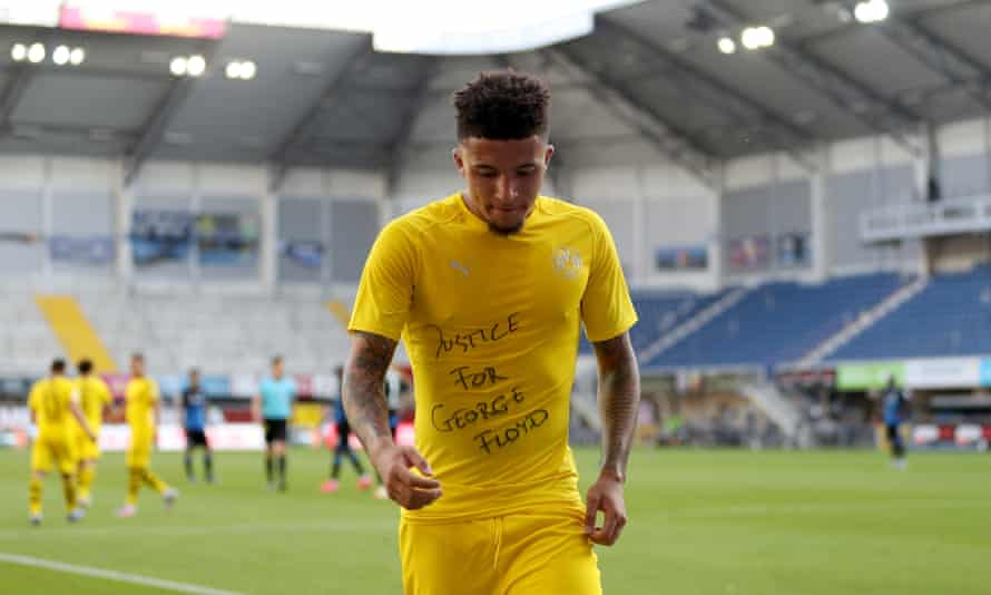 Joshua Kimmich said he was impressed by the protest by Jadon Sancho (above) and revealed that Bayern's players are planning to make an anti-discrimination statement.