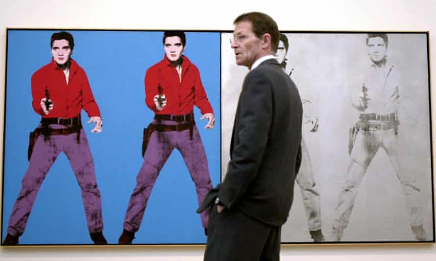 Tate's former director, Sir Nicholas Serota, with Warhol's Elvis Presley. Balshaw's directorship is widely seen as a clean break with the Serota era.