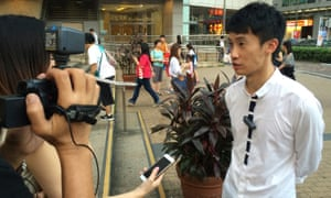 Baggio Leung, a leader from the Youngspiration political party, during a recent campaigning event in Hong Kong