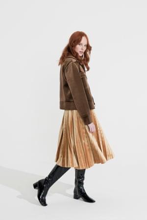 Brown velvet jacket Zara, gold coloured velvet skirt Topshop, black knee length boots