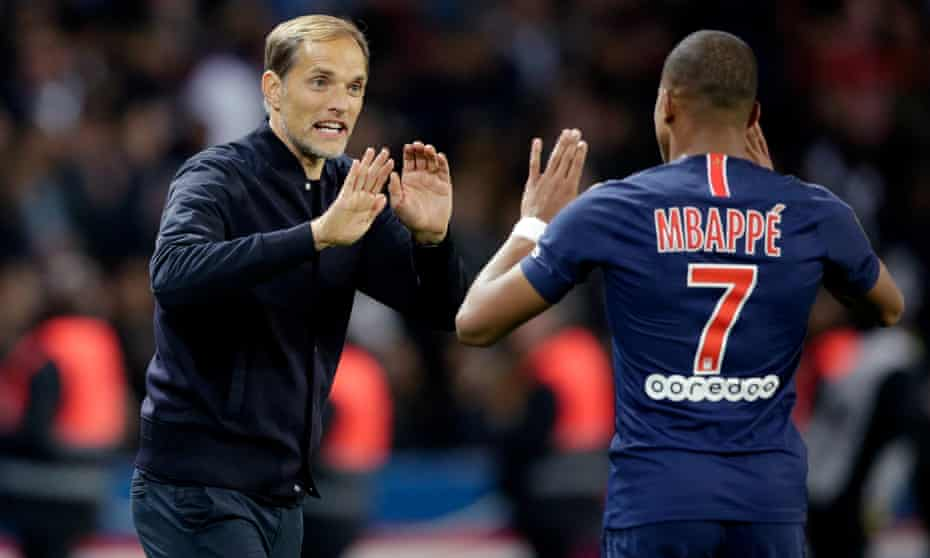 Thomas Tuchel with the Paris Saint-Germain and France forward Kylian Mbappé.