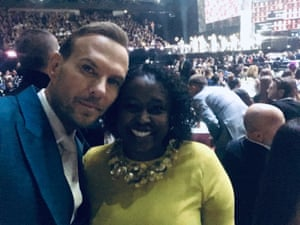 Matt Goss with Aamna Mohdin at the Brits.