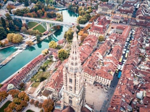Drone photo of Bern Minister and the Bern cityscape