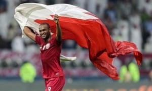 Qatar's Abdelkarim Hassan celebrates victory over the UAE at the Arabian Gulf Cup last December.