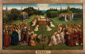 A secret story of brotherly love … The Adoration of the Mystic Lamb, on the central panels. Click here to see full image