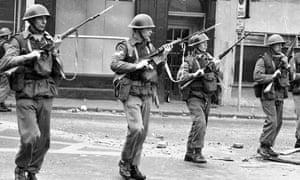 British troops on patrol in Derry in 1969