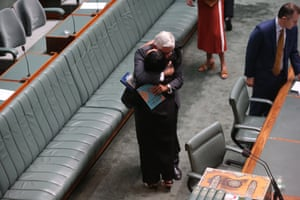 The minister for Indigenous Australians Ken Wyatt with Shadow minister Linda Burney after the Prime Minister Scott Morrison delivered the Closing the Gap report 2020