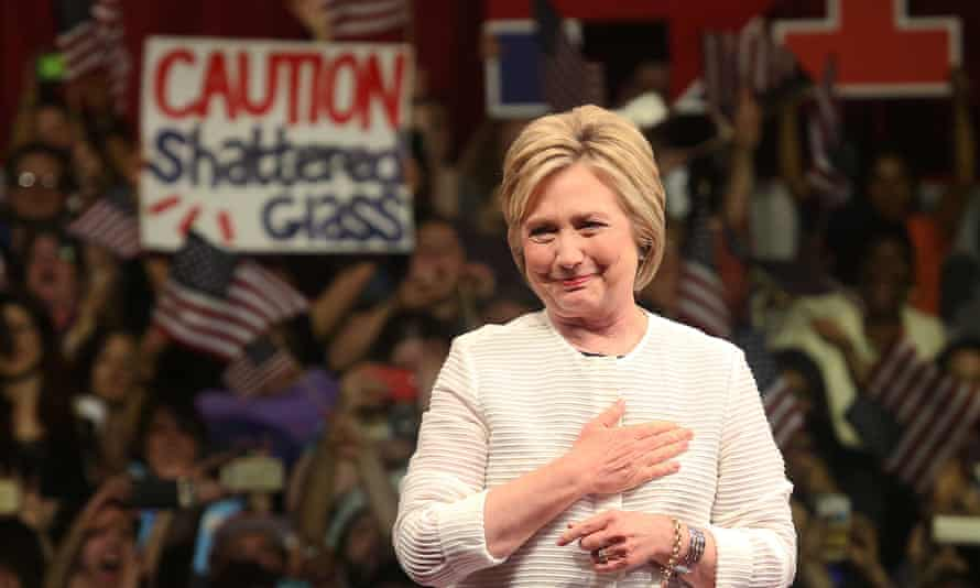 Hillary Clinton at Brooklyn Navy Yard, New York, earlier this week: 'she would be the safest pair of hands in the White House in decades'.