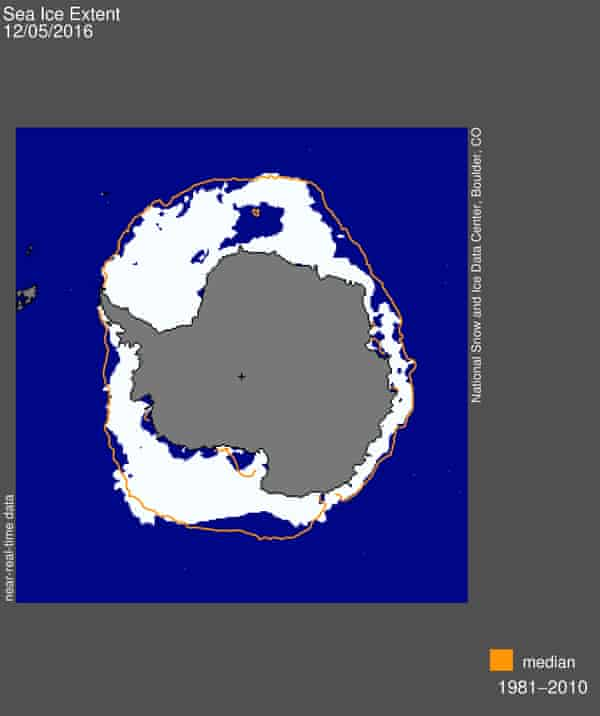 A map from NSIDC showing the sea ice extent compared to the historical average from 1981 to 2010.