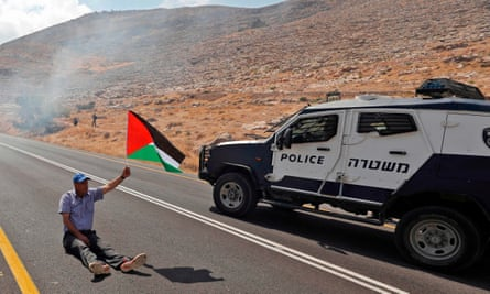 A Palestinian man demonstrating against occupation, in the village of Kafr Malik north east of Ramallah.