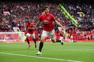 And celebrates scoring on his debut.
