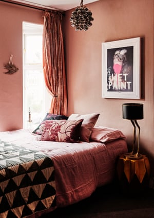 Out of Africa: dusky pink walls and velvet curtains in the bedroom are inspired by a Moroccan riad.
