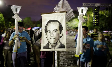 A 2014 procession in San Salvador commemorating the 25th anniversary of the massacre. The banner shows Father Ignacio Ellacuria.