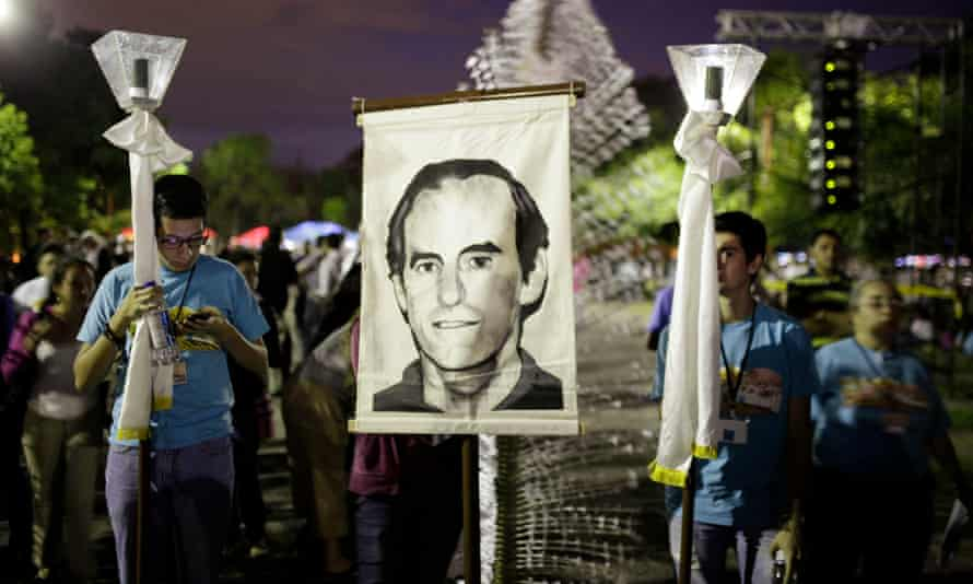 The attack in 1989 targeted Fr Ignacio Ellacuría (pictured on banner) in an attempt to derail peace talks.