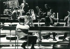 Taking a break … Duke Ellington and Orchestra at BBC TV Centre in 1966.