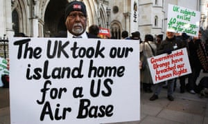 Chagos islanders protesting outside the high court in London.
