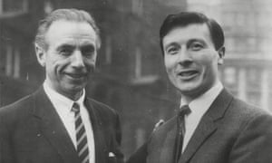 Jimmy McIlroy being welcomed to Stoke City in 1963 by his team-mate Stanley Matthews.