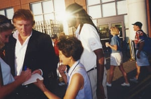 Signing autographs with Donald Trump