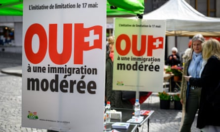 Posters in Lausanne by the rightwing Swiss People's party (SVP), which has called for the vote