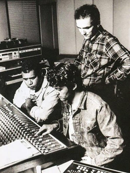 Archie Roach, Steve Donnelly and Paul Kelly in the studio recording Charcoal Lane.