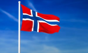 Waving flag of Norway on the blue sky background