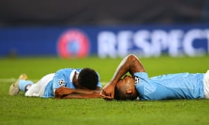 Gabriel Jesus (right) and Raheem Sterling of look dejected after final whistle.