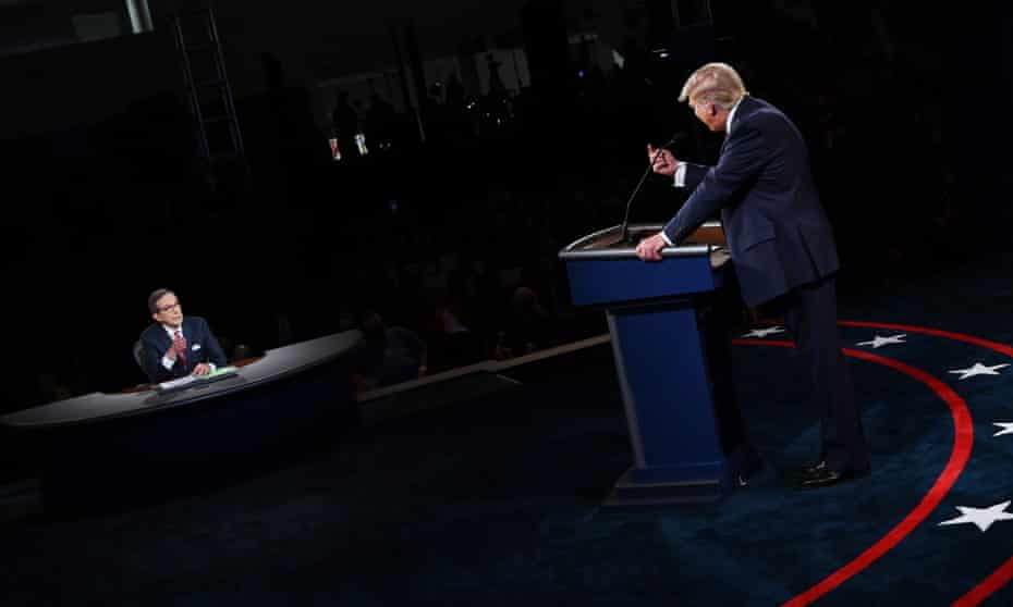 Donald Trump clashes with the moderator and Fox News anchor, Chris Wallace, in the first presidential debate with Joe Biden in Cleveland.