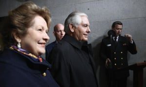 Rex Tillerson and his wife Renda Tillerson arrive for Donald Trump's inauguration on Friday.