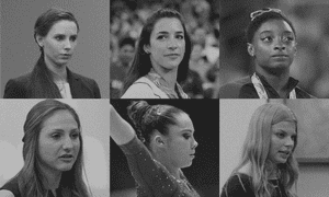 Some of Larry Nassar's victims: clockwise, from top left, Rachael Denhollander, Aly Raisman, Simone Biles, Jade Capua, McKayla Maroney and Kyle Stephens.