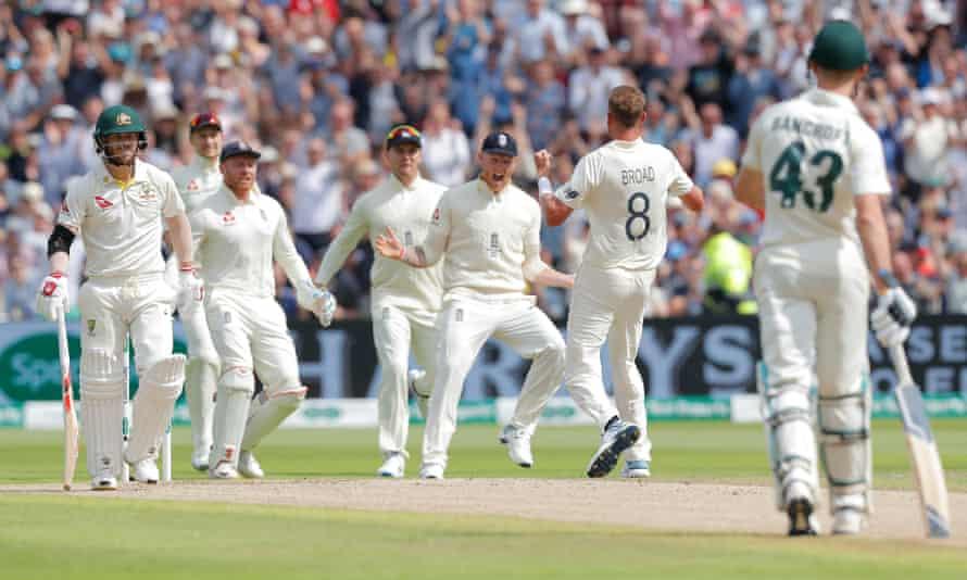 England celebrate after Stuart Broad traps David Warner lbw