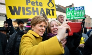 Nicola Sturgeon posing for a selfie with a supporter in Perth.