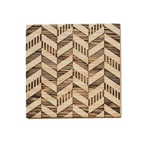 Geometric engraved oak coaster, £6.40, modocreative.com