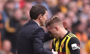 The Watford manager, Javi Gracia (left), greets Gerard Deulofeu after the winger was substituted in extra-time against Wolves.