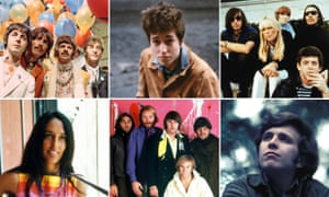 No gracias … (clockwise from top left) The Beatles, Bob Dylan, the Velvet Underground, Don McLean, the Beach Boys and Joan Baez.