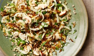 Pot barley and mushroom salad with crisp caraway onions.