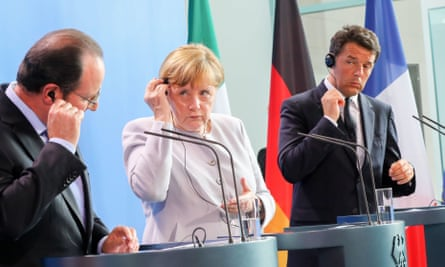 Angela Merkel, François Hollande and Matteo Renzi address the media in Berlin, Germany.