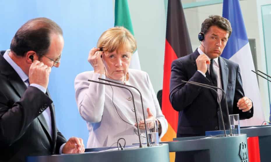 Angela Merkel, François Hollande and Matteo Renzi address the media in Berlin, Germany.