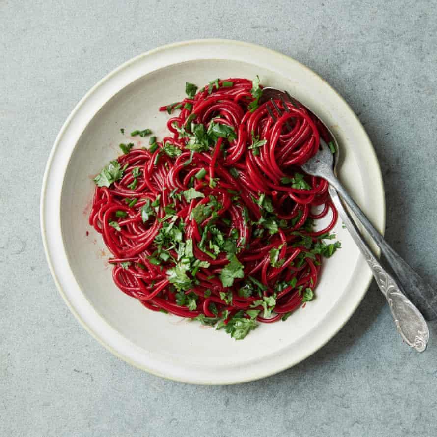 Nigella Lawson's ruby noodles.