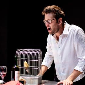 Fatal menace... Samuel Pantcheff as Juan in Joseph Phibb's Juliana at the Cheltenham festival, July 2018