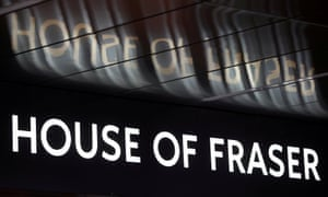 House of Fraser sign with reflection above