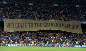 Barcelona fans unveil a banner at their Champions League match against Juventus.