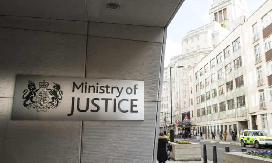 Sign outside Ministry of Justice building in London