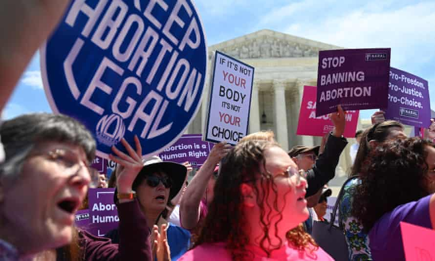 Abortion rights activists at the supreme court in May. In Kentucky, doctors must describe the ultrasound in detail while the pregnant woman listens to the fetal heartbeat.